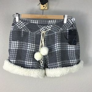 Pants - Grey plaid fleece hiking chic shorts